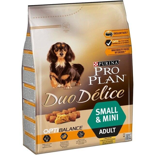 Набор сухого корма Pro Plan DUO DÉLICE для взрослых собак мелких и карликовых пород, с курицей и рисом, 4 пакета по 2,5 кг