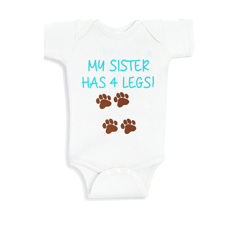 My Sibling Has Paws Baby Romper  Body Suit Shower Gift 100/% Cotton Funny