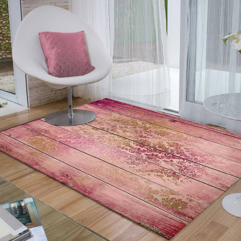Else Pink Wood Golden Yellow Floral Vintage 3d Print Non Slip Microfiber Living Room Decorative Modern Washable Area Rug Mat