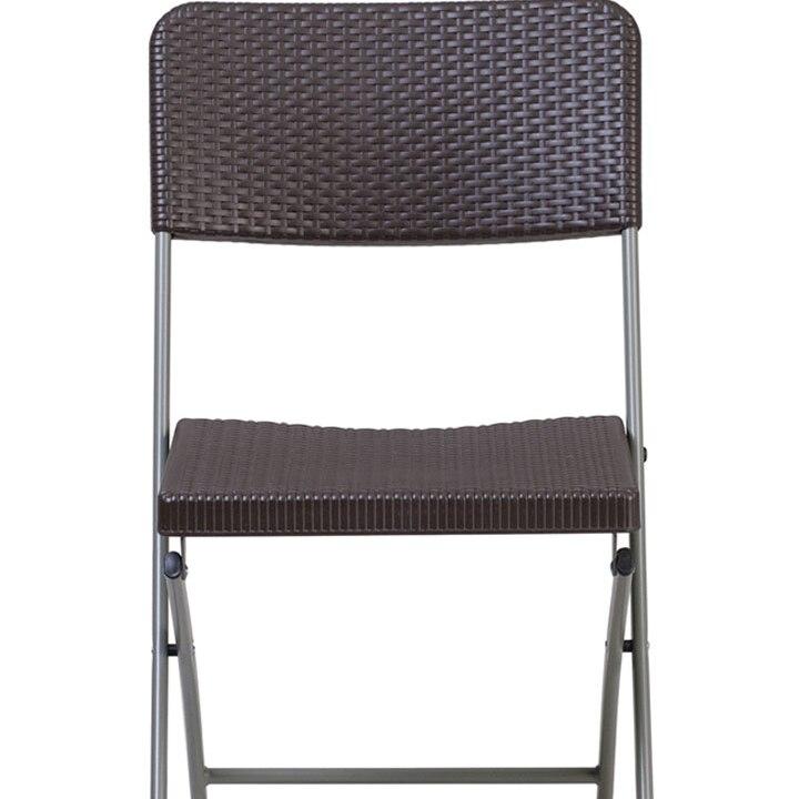 Флэш-мебель Геркулес серии коричневый ротанг пластиковый складной стул с серой рамкой