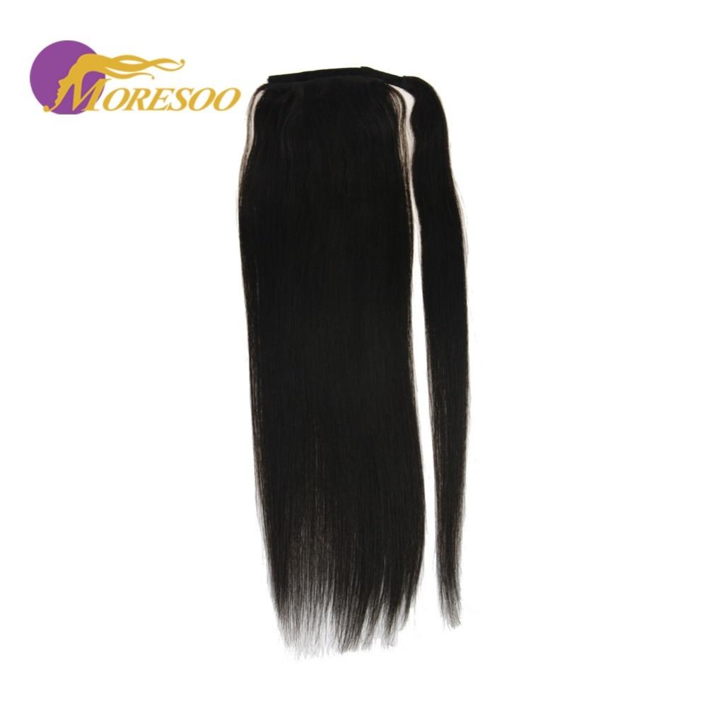 Hair Pieces Moresoo Wrap Around Ponytail Human Hair Brown #6 Highliighted With Blonde #60 Straight Human Hair Ponytail 100g