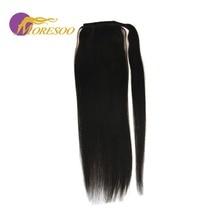 Moresoo, прямые волосы, конский хвост, на клипсах, для наращивания, черный цвет#1, человеческие волосы Remy, натуральные волосы для черных женщин 100 г