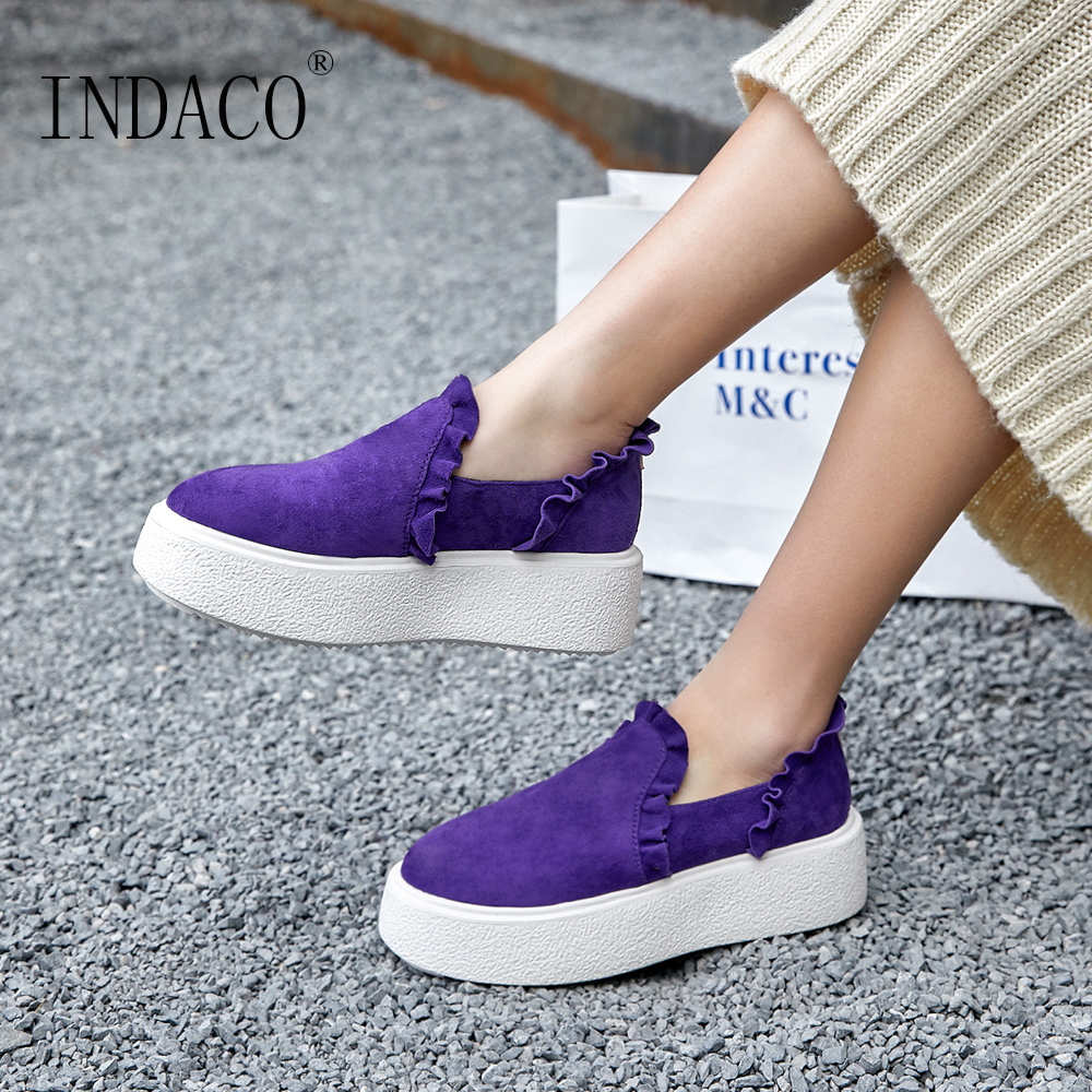 Women Shoes Sneakers Women 플랫폼 프릴 Purple Black Leather Casual Shoes Women 6 cm 2019-에서여성 경량 신발부터 신발 의  그룹 1
