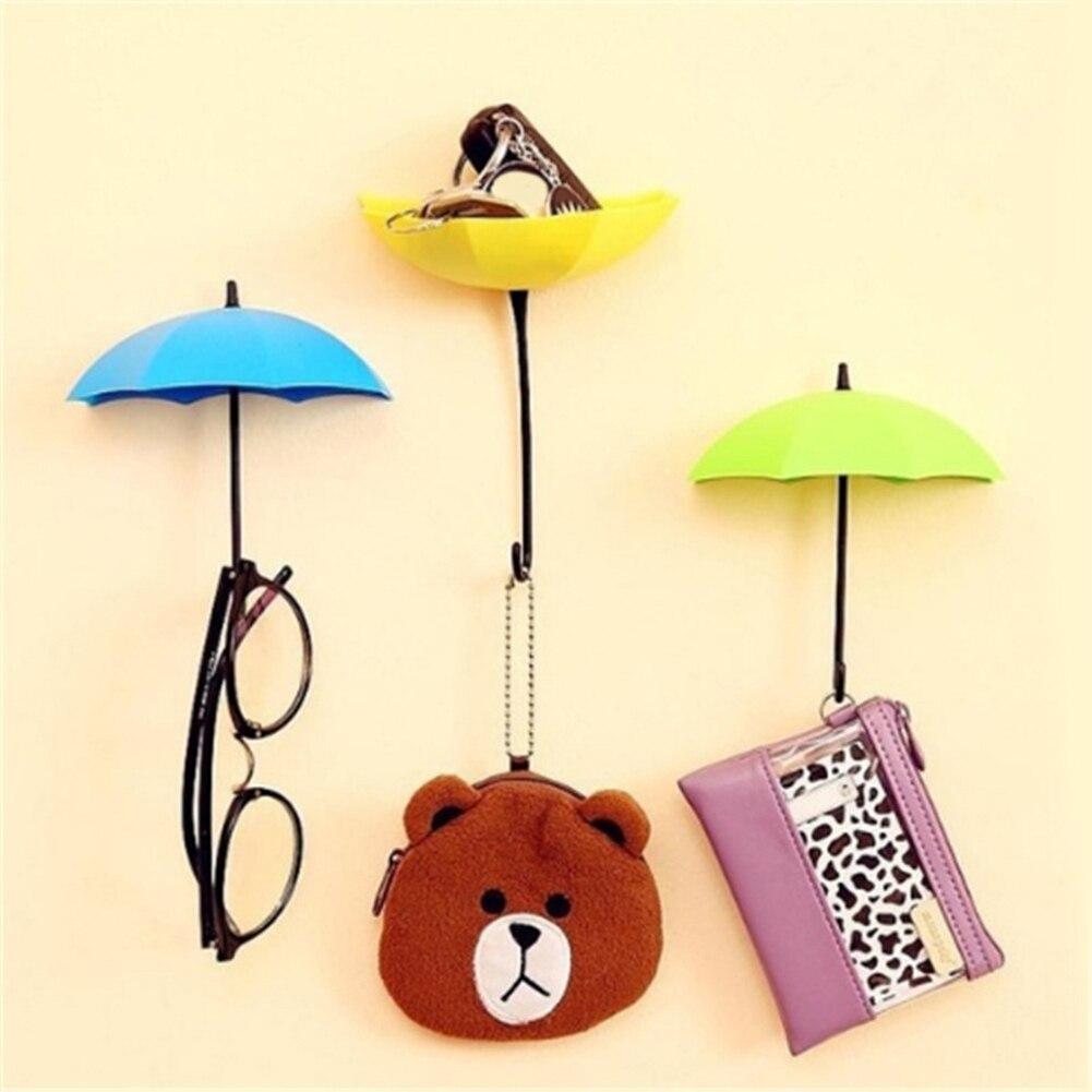 3Pcs Colorful Umbrella Wall Hook Key Hanging Hair Pin Holder ...