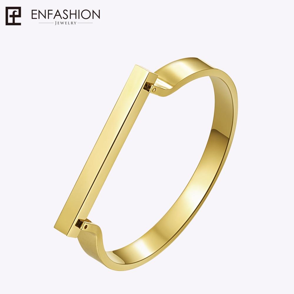 Enfashion Personlig anpassad gravyr Namn Flat Bar Manschett Armband Guldfärg Bangle Armband För Kvinnor Armband Bangles