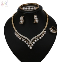YULAILI New Arrival Gold Color African Beads Jewelry Set for Women Wedding Bridal Imitation Pearl Jewellery