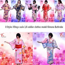 VStoys Scale 1/6 Female Soldier Clothes Accessories Kimono Bathrobe Dress Model for 12 Phicen Action Figure Doll Toys 7 Colors