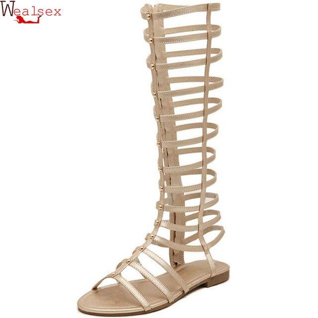 3dffa37f28b Sandalias Wealsex botas Mujer Zapatos de verano Roma sandalias de correa  cruzada sandalias hasta la rodilla