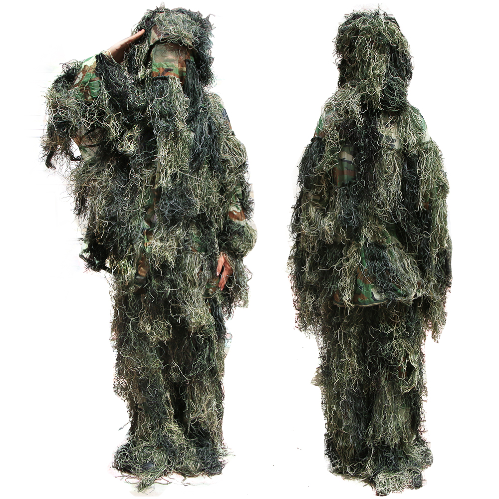 New Forest Design Camouflage Ghillie Suit Grass Type Woodland Clothes Hunting Clothing Yowie Sniper 3D Bionic Camouflage Suit military camouflage ghillie suit woodland grass hay style paintball leaf jungle sniper clothes hunting tactical shade clothing