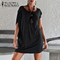 ZANZEA 2017 Women Summer Sexy Mini Vestidos Newest Off Shoulder Irregular Sleeve Casual Loose Beach Party