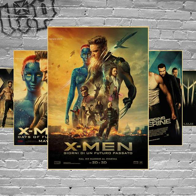 Custom New Arrival X Men Wolverine Movie Retro Poster Home Decor Vintage Wall Sticker For Bedroom