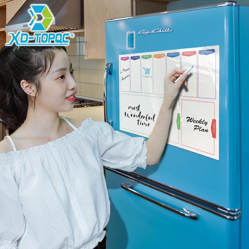 A3 Whiteboard Weekly Planner Fridge Magnet 29.7*42cm Magnetic Calendar Flexible White Message Board Drawing Refrigerator Board