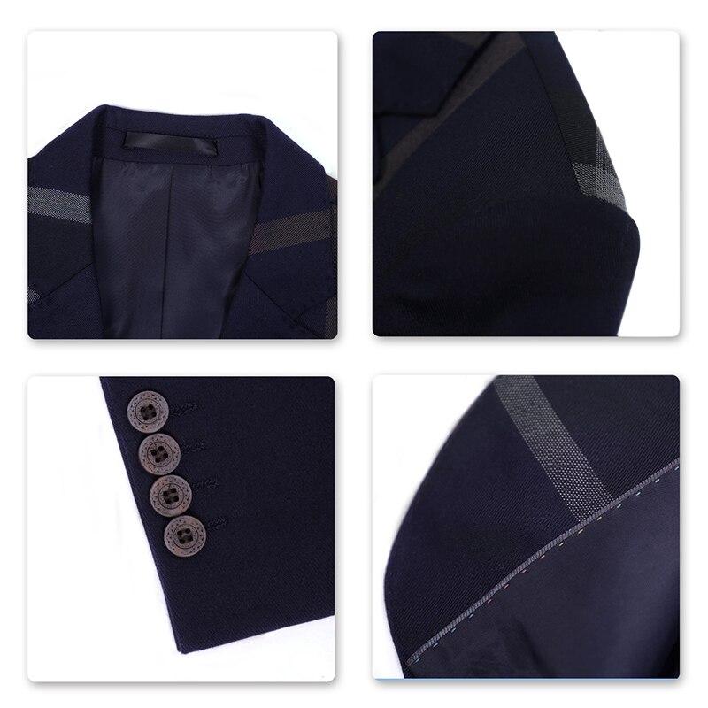 YUNCLOS 2019 hombres trajes de negocios de 2 piezas azul oscuro a ... f34782650c0