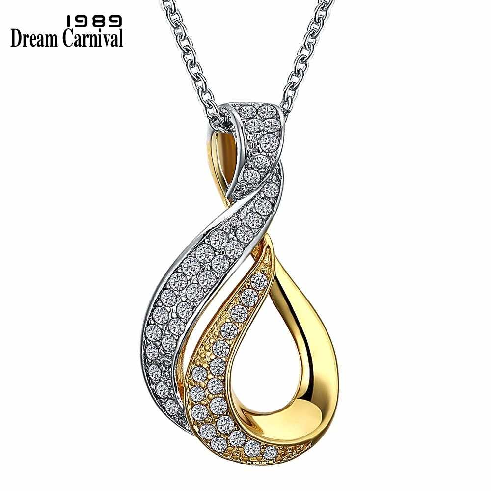 DreamCarnival 1989 Infinity Love Necklace for Women 2 Tone Gold Color Collares Largos Wholesale Discount Coupon Anniversary Gift