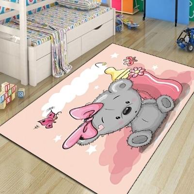 Else Pink Floor Baby Gray Koala Milk Bottle Baby 3d Print Non Slip Microfiber Children Kids Room Decorative Area Rug Kids  Mat