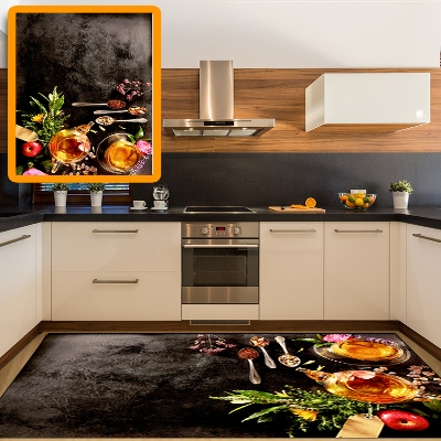 Else Black Floor Breakfast Honey Red Tomato Tea Cuo 3d Print Non Slip Microfiber Kitchen Modern Decorative Washable Area Rug Mat