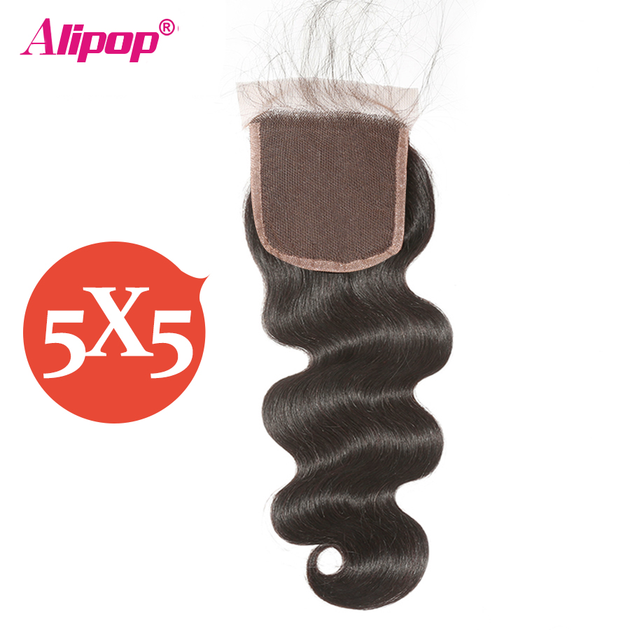 5x5 Lace Closure Body Wave Brazilian Huaman Hair Closure Pre Plucked with Baby Hair 8-20 ALIPOP Remy Hair Free23 Part Closure (1)