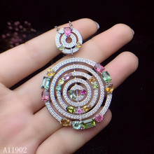цена KJJEAXCMY boutique jewels  925 sterling silver inlaid natural gemstone tourmaline lady Necklace Pendant support detection qwer онлайн в 2017 году