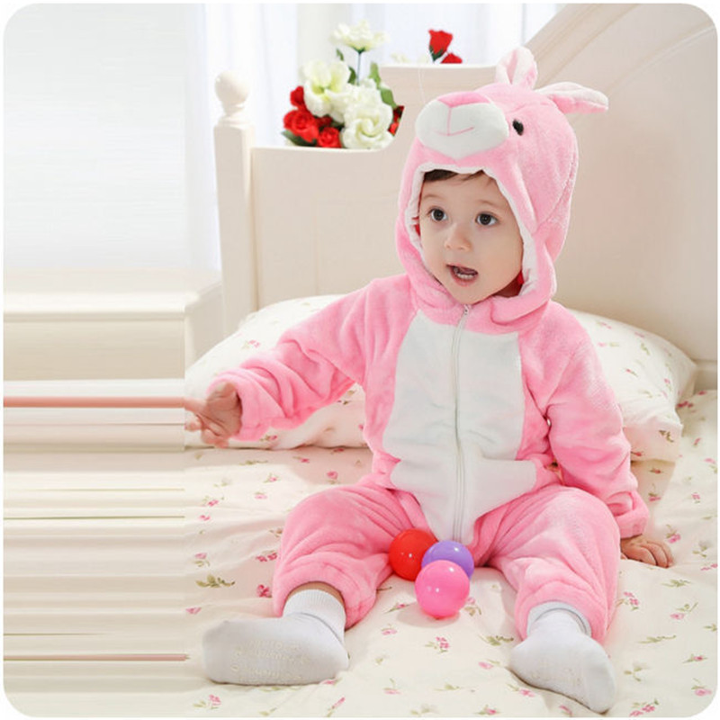Animal Character Pink Rabbit Baby Romper Cartoon Figure Newborn Suit 2017 Infant Toddler Overall Baby Clothes for 6 Month RL2-E