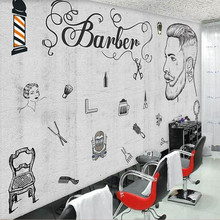European and American industrial wind cement wall beauty salon barber shop professional production wallpaper mural