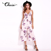 Jumpsuit Women Sexy Night Club Party Clothing Rompers Backless Low Cut Deep V Neck Sleeveless Floral