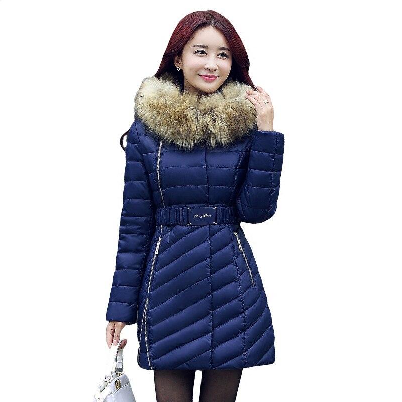 Nouveau Femmes hiver coton veste Longue section de col De Fourrure à capuchon survêtement haute qualité épais chaud Parka Femme Pardessus