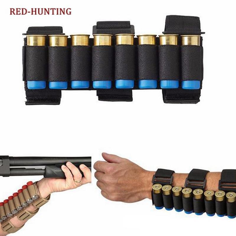 Airsoft caça molle 8 rodadas ga tiro arma conchas titular tiro braço banda 12 calibre bala munição cartucho bolsa