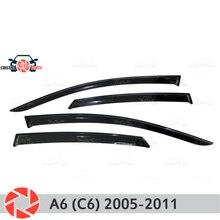 Окна отражатель для Audi A6 C6 2005-2011 дождь дефлектор грязи Защитная оклейка автомобилей украшения аксессуары для литья под давлением