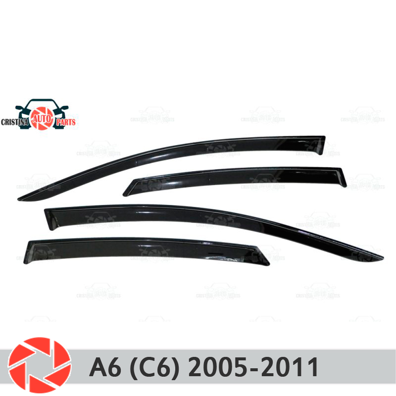 Window deflector for Audi A6 C6 2005-2011 rain deflector dirt protection car styling decoration accessories molding high quality car styling case for hyundai sonata 2011 12 headlights led headlight drl lens double beam hid xenon car accessories