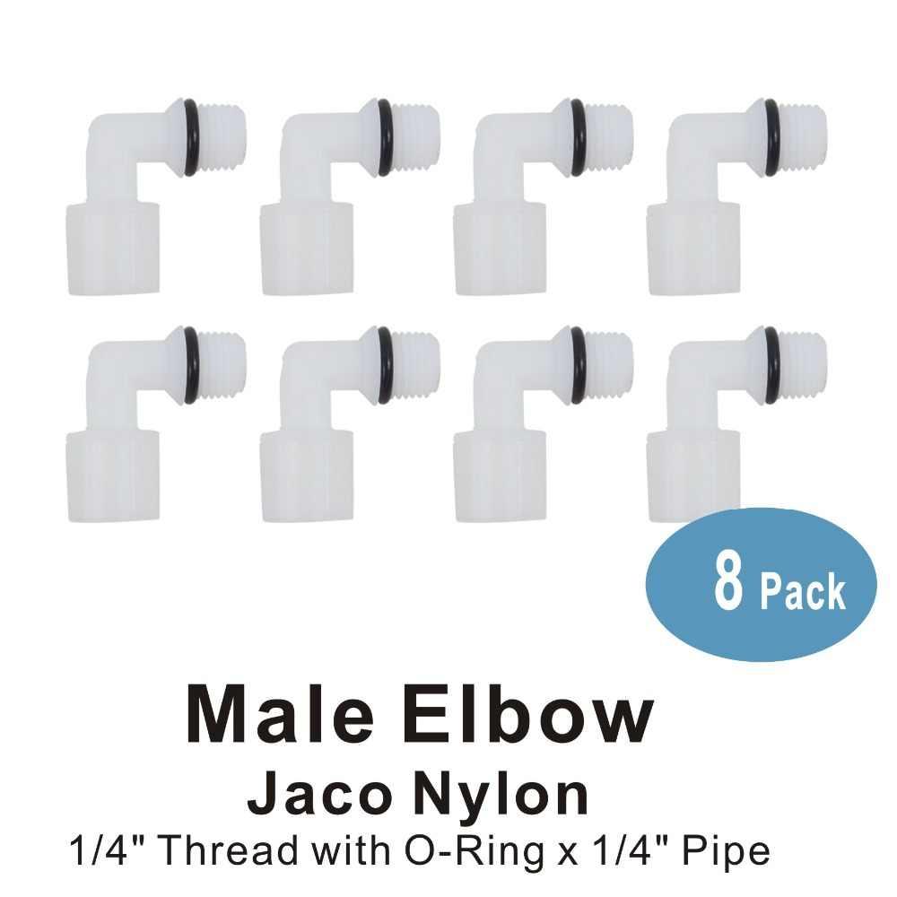 """جاكو النايلون الكوع موصل 1/4 """"موضوع الذكور x 1/4"""" أنبوب تركيبات ل مرشحات المياه و أنظمة RO- 8 حزمة"""