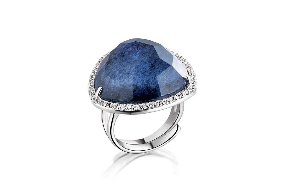 DORMITH real 925 bague en argent sterling avec pierres précieuses bagues en saphir bleu pour femmes bijoux bagues taille peut être réajustable