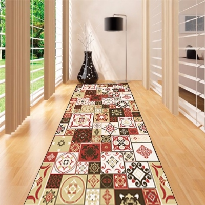 Else Square Patchwork Ethnic Geometrics 3d Print Non Slip Microfiber Washable Long Runner Mats Floor Mat Rugs Hallway Carpets