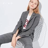 וינג 2017 הגעה חדשה סתיו בציר בלייזרים נשים פסים מלא שרוול מותאם צווארון OL סגנון מעילי טרייל מקרית