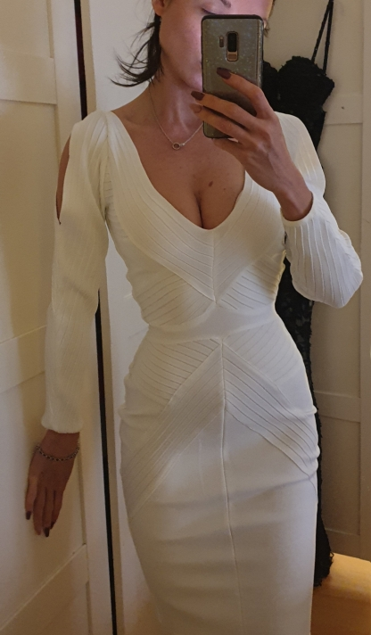 Autumn Women Bodycon Bandage Dress White Long Sleeve Hollow Out Club Dress Vestidos Celebrity Evening Party Dress photo review