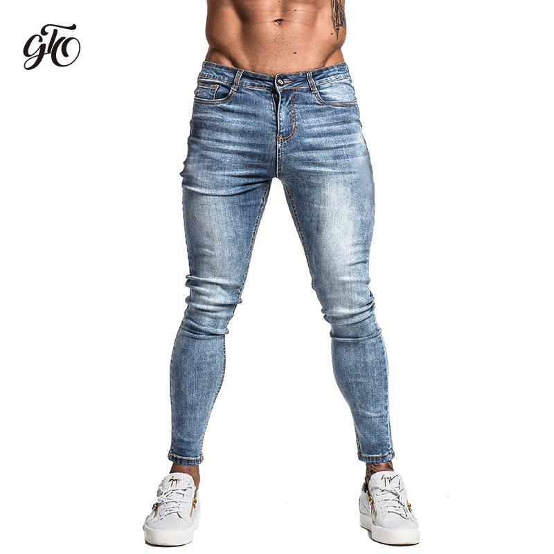Gingtto Men's Skinny Jeans Faded Blue Middle Waist Classic Hip Hop Stretch Pants Cotton Comfortable Dropshipping Supply zm46