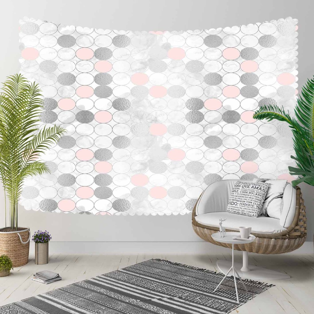 Else Gray White Pink Watercolor Circle Geometric 3D Print Decorative Hippi Bohemian Wall Hanging Landscape Tapestry Wall Art