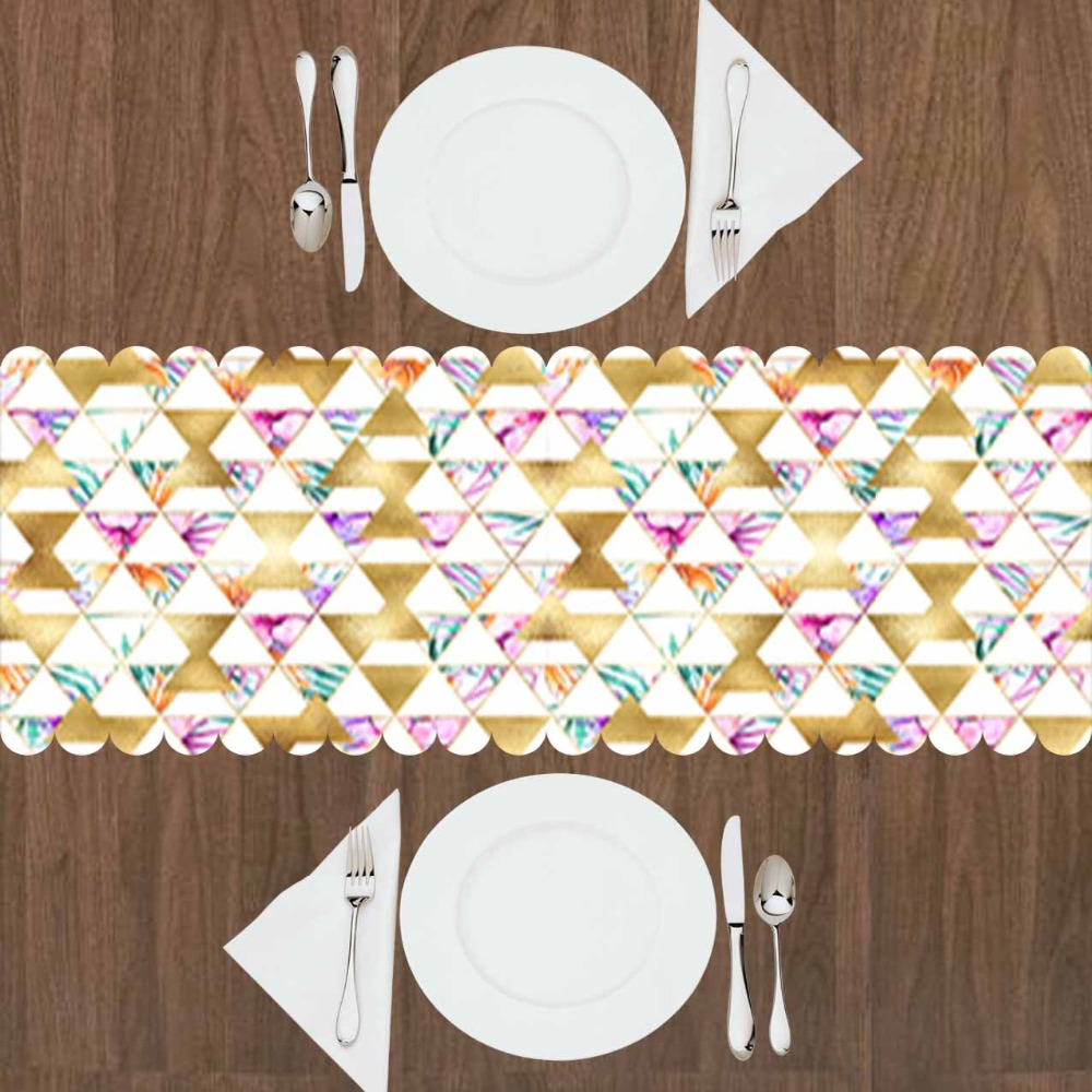 Else Golden Yellow Triangles Flowers Green Pink Floral 3d Print Pattern Modern Table Runner  For Kitchen Dining Room Tablecloth