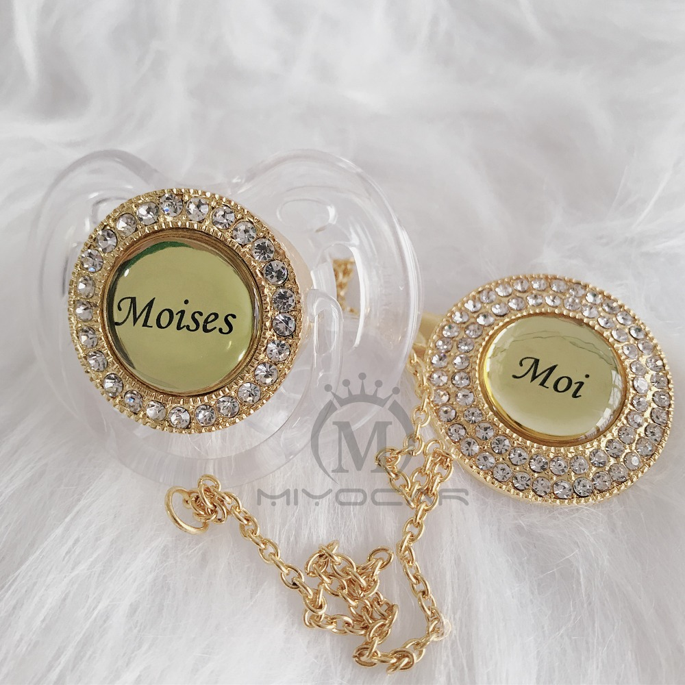 MIYOCAR Personalized Any Name Can Make Many Colors Bling Pacifier And Pacifier Clip BPA Free Dummy Bling Unique Design P11