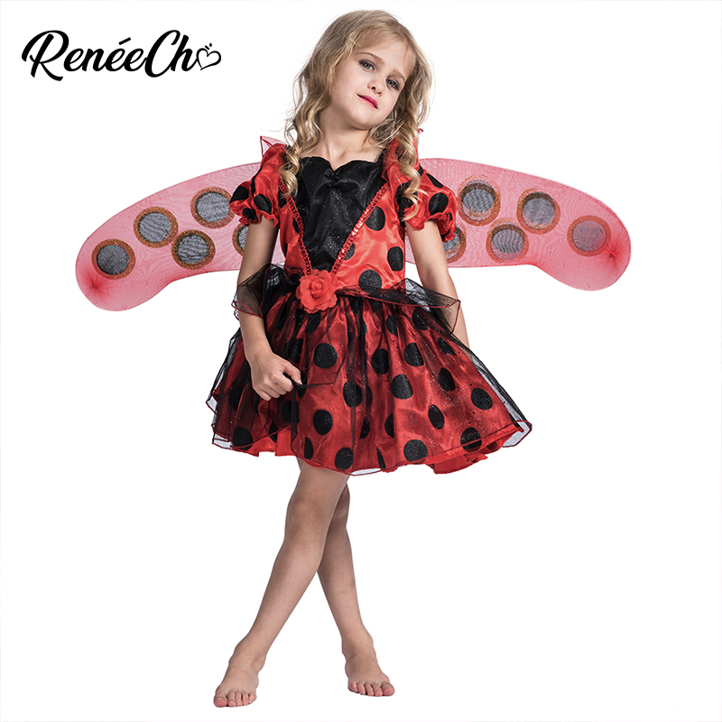 Reneecho Halloween Costume For Girls Kid Ladybug Costume For Birthday Party Toddle Dress Children Carnival Cosplay Costume