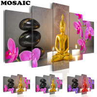 5pcs/set 5D DIY Diamond Painting Stone Candle Orchid Flower Buddha Embroidery Full square Cross Stitch Rhinestone Mosaic art