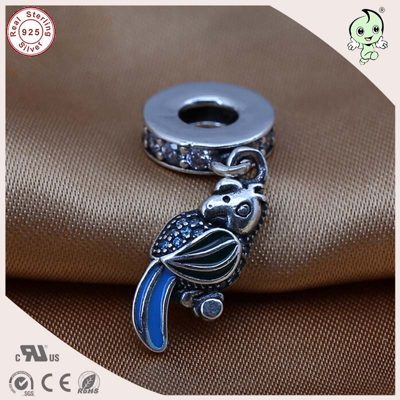 P&R Top Quality Animal Design 925 Solid Silver Blue Tail Parrot Pendant Charm Fitting European Famous Silver Snake Chain