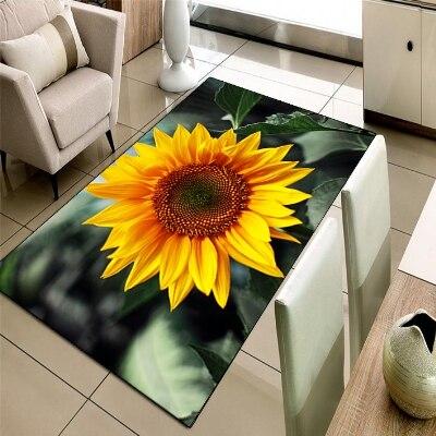 Autre vert feuilles en jaune tournesol Floral impression 3d antidérapant microfibre salon décoratif moderne lavable zone tapis