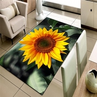 Else Green Leaves in Yellow Sunflower Floral 3d Print Non Slip Microfiber Living Room Decorative Modern Washable Area Rug Mat