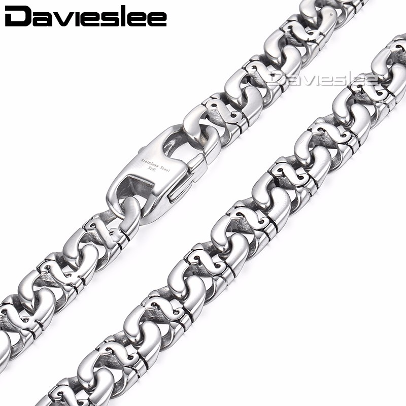 Davieslee Biker Link Mens Necklace 316L Stainless Steel Necklaces Chain for Men Silver Tone Wholesale Jewelry 9.5mm LHN01