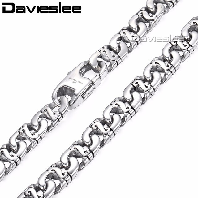 Davieslee Mens Necklace 316L Stainless Steel Biker Chain Necklaces for Men Silve