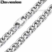 Davieslee Mens Necklace 316L Stainless Steel Biker Chain Necklaces for Men Silver Wholesale Punk Jewelry 9.5mm 18-36inch LHN01