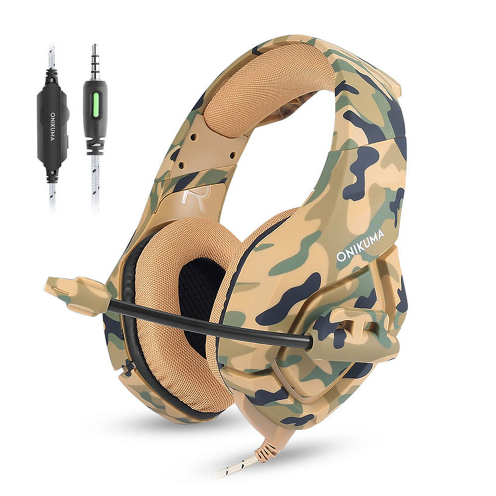 ONIKUMA K1 Casque Camouflage PS4 Headset with Mic Stereo Gaming Headphones for PC Cell Phone New Xbox One Laptop (6)