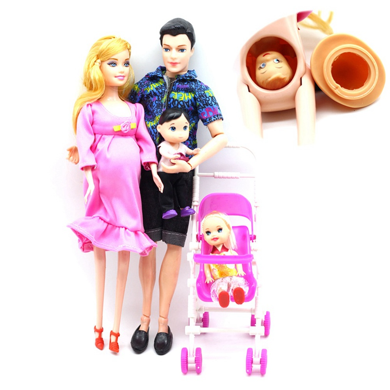 Toys Family 5 People Dolls Suits 1 Mom /1 Dad /2 Little Kelly Girl /1 Baby Son/1 Baby Carriage Real Pregnant Doll Gifts