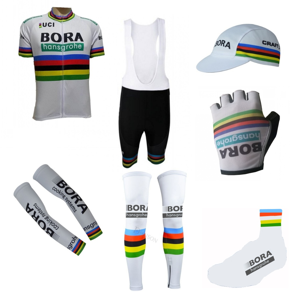 2018 white rainbow 7PCS cycling full set cycling jersey summer breathable bike clothing MTB Ropa Ciclismo Bicycle maillot GEL 12d pad cycling jersey set bike clothing summer breathable bicycle jerseys clothes maillot ropa ciclismo cycling set