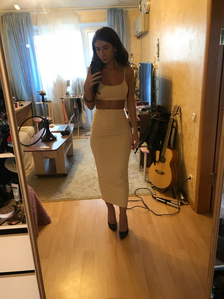 2 Layers Two Piece Set 2 Piece Set Women Outfits Crop Top And Skirt Set Matching Sets Woman Two Pieces Maxi Skirt Top photo review